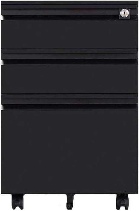 ファイルキャビネット 盗難防止ロック付きの大容量プッシュプル引き出しモバイル鉄ファイルキャビネットが完全に組み立てられ、多層引き出し-白 (色 : ブラック, サイズ : 50x39x60cm)