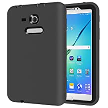 Samsung GALAXY Tab 3 Lite T110 7.0 inch Tablet Case,Y&M(TM) Prrety Protective shell Shockproof Silicone+PC Camera Screen Protector Hybrid Hard Army Kids Safety Tablet Case for Samsung GALAXY Tab 3 Lite T110 7.0 inch (Black/Black)