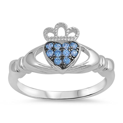 Crown Claddagh Ring Round Pave Simulated Blue Aquamarine Black Tone Plated 925 Sterling -