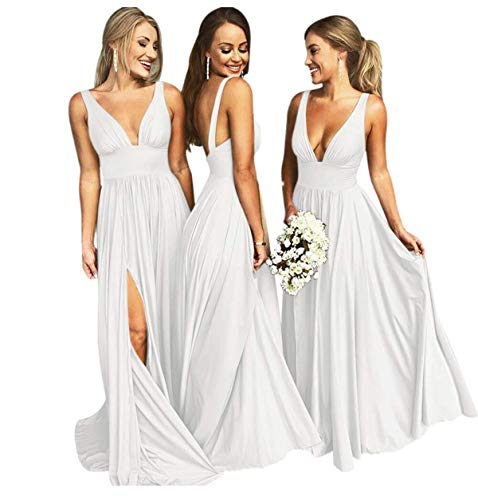 Bridal A-line Bridesmaid Dress - Bridesmaid Dress Long V Neck Backless Split Prom Dress Evening Gowns for Women 2019 White Size10