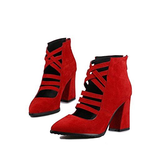 fighi DEDE di alti e tacchi fighi di stivali moda gules ferro affilato Sandalette cavallo fighi stivali 32 i stivali EqdBwq