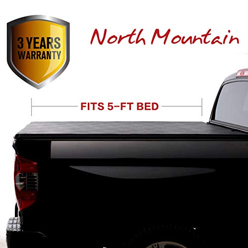 North Mountain Soft Vinyl Roll-up Tonneau Cover, Fit 05-15 Toyota Tacoma Pickup 5ft Fleetside Bed, Clamp On No Drill Top Mount Assembly w/Rails+Mounting Hardware