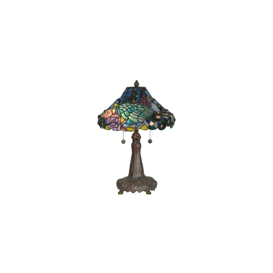 Dale Tiffany TT10025 Tiffany Table Lamp, Dark Antique Bronze Verde Grn and Art Glass Shade