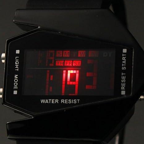 Amazon.com: Vktech New Fashion Cool Unisex Colorful LED Aircraft Watch Sports Watch (Black II): Electronics