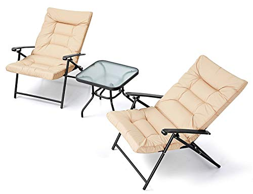 Solaura Patio Outdoor Furniture 3-Piece Bistro Set Adjustable Backrest Chair Black Frame Lounge Seat & Light Brown Sand Color Cushion with Glass Coffee Table