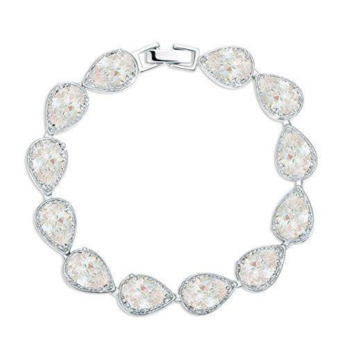MASOP Silver tone Zirconia Teardrop Jewelry