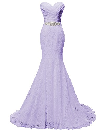SOLOVEDRESS Women's Lace Wedding Dress Mermaid Evening Dress Bridal Gown with Sash (US 10,Lavender)
