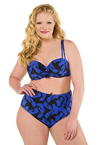 Ulla Popken Damen große Größen | Bikini mit Pinselstrich-Muster | Softcup-Büste | Zier-Dekor | Verstellbare Träger | Zweiteilig | bis Größe 54D | 715772 Blau 8m5IgN