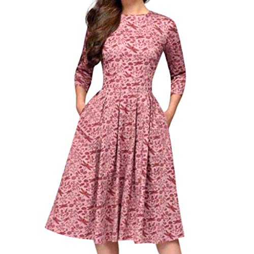 Printing Square Collar - Cenglings Women Elegant 3/4 Sleeve Floral Print A-line Vintage Printing Party Vestidos Dress High Waist Flare Gown Midi Dress Pink