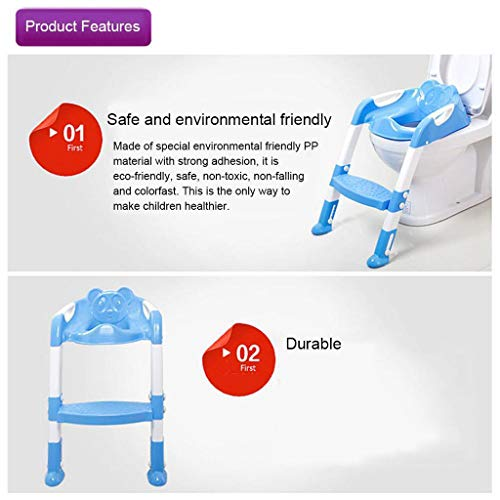 Baby Potty Toilet Training Seat by HP95, Folding Toddlers Bathroom Training Chair Cover for Toilet - Boys & Girls Toilet Training Seat Ladder with Wide Step (A, Blue) by HP95_Baby Supplies (Image #8)