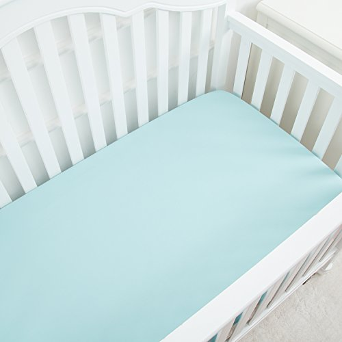 TILLYOU Silky Soft Microfiber Crib Sheet, Breathable Cozy Hypoallergenic Toddler Sheets For Boys and Girls, 28 x 52in Fits Standard Crib & Toddler Mattress, Aqua (Aqua Crib Sheet)