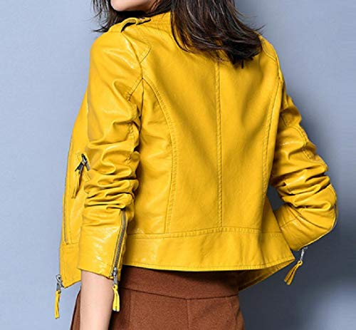 Leather Smooth Howme Coat Women Pu Motorcycle Trench Yellow Notched Lapel 6ZHFBYwpqH