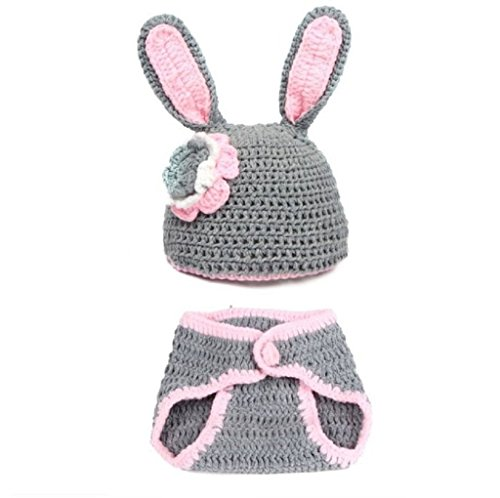Rush Dance Photography Prop Gray Easter Bunny Rabbit Crochet Costume Hat &Diaper (Crochet Newborn Bunny Hat And Diaper Cover)