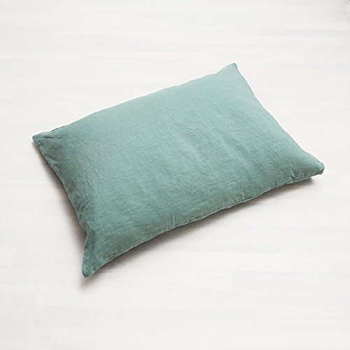 LinenMe Stone Washed Bed Linen Pillow Case, Spa Green by LinenMe