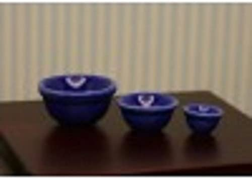 Dollhouse Miniature Kitchen Canister /& 3 Bowl Nesting Set in Blue