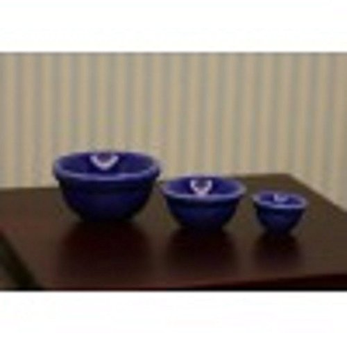 Price comparison product image Dollhouse Miniature Set of 3 Blue Mixing Bowls in 1:12 Scale