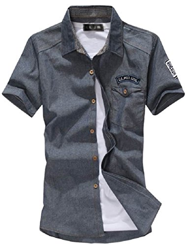 [アルファーフープ] メンズ シャツ カットソー ジャケット アウター 半袖 アメカジ カジュアル ファッション 夏服 c32