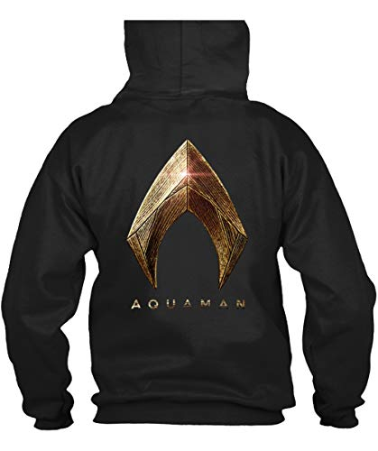 ROEBAGS Aquaman Shirt Poster Gold Foil Logo Costume Men's Pop T Shirt - Hoodie (XL, Black)]()