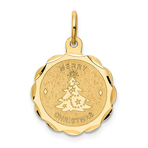 Mireval 14k Yellow Gold Merry Christmas Disc Charm (15 x 21 mm)