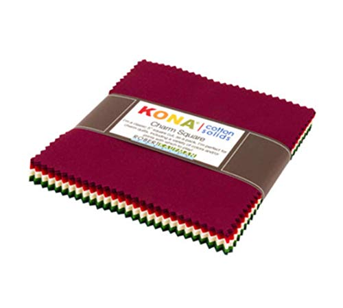 Kona Cotton Holiday Palette 42 5-inch Squares Charm Pack Robert Kaufman CHS-730-42 (Cotton Fabric Holidays Quilt)
