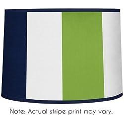 Sweet Jojo Designs Navy Blue and Lime Green Stripe Lamp Shade