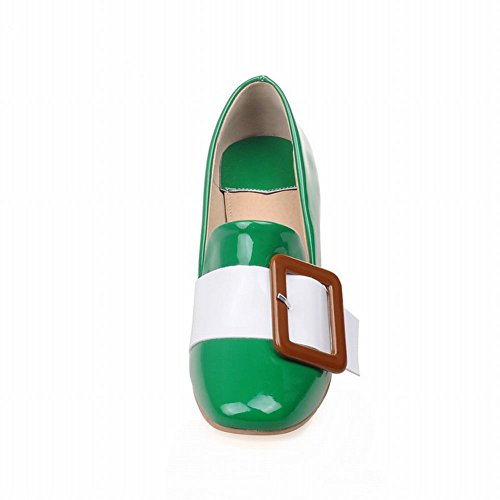 MissSaSa Damen Chunky heel assorted colors verkant Spitze Pumps bequem und modern Blockabsatz glitzer Lackleder Pumps Grün