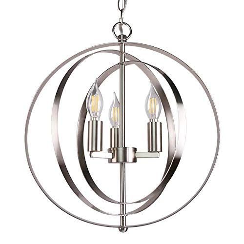 7Pandas 15-7 10 Orbits Pendant Lighting, 3-Light Globe Chandelier Light for Living Room, Dining Room, Kitchen Island, Brushed Nicke Satin Nickel