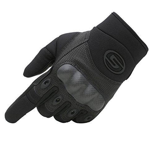 Seibertron Men's Hard Knuckle Military Leather Palm Carbon Fiber Glove Outdoor Sports Tactical Airsoft Hunting Cycling Bike Motorcycle MTB Gloves Black L