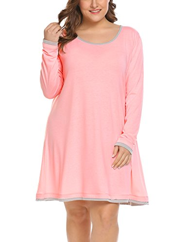 Sleeve Long Sleep Tee (Women's Plus Size Sleepwear Long Sleeve Lounge Sleep Dress T Shirt Knit Night Gown (14W-31W))