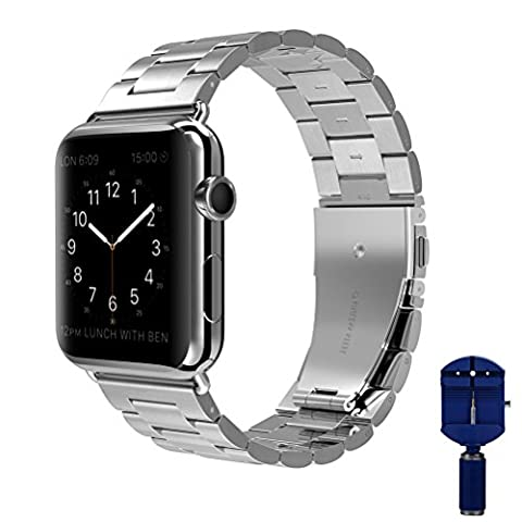 Apple Watch band, VIPPLUS iWatch Band Stripe Stainless Steel Strap Wristbands Replacement Bracelet with Durable Folding Metal Buckle Clasp for Apple Watch Series 3/2/1 Sports Edition 42mm (Metal Watch Bands Replacement)