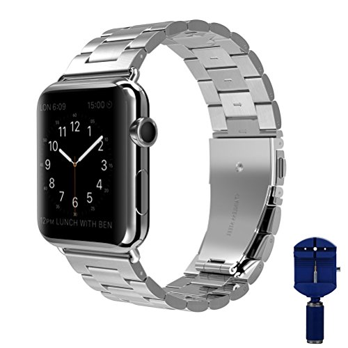 Link Silver Wrist Watch - Apple Watch band, VIPPLUS iWatch Band Stripe Stainless Steel Strap Wristbands Replacement Bracelet with Durable Folding Metal Buckle Clasp for Apple Watch Series 3/2/1 Sports Edition 42mm Silver