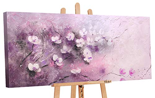 YS-Art | Cuadro Pintado a Mano El Ternura | Cuadro Moderno acrilico | 115x50 cm| unico | Violeta