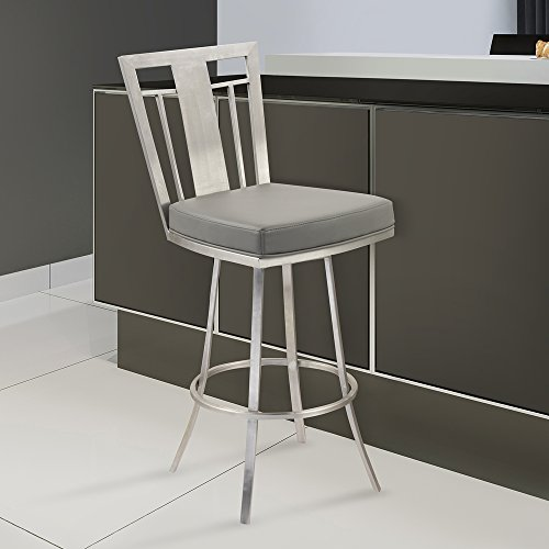 """Armen Living LCCL26SWBAGRB201 Cleo 26"""" Counter Height Swivel Barstool in Grey and Brushed Stainless Steel Finish"""