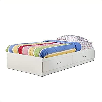 South Shore Logik Kids Pure White Twin Wood Mates Storage Bed 4 Piece Bedroom Set from South Shore