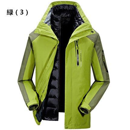 メンズ スポーツウェア アウトドア ソフトシェルジャケット スキージャケット ツーピース B076KFD2PW XXL|緑(3) 緑(3) XXL