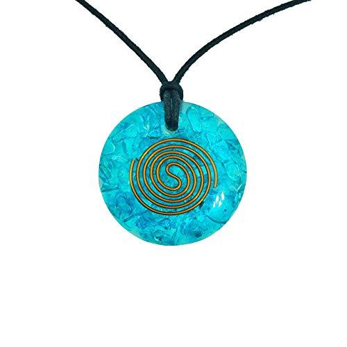 Pura Esprit Orgonite Orgone Pendant- Handmade Aquamarine Orgone Energy Generator Chakra Healing Natural Crystal Pendant Necklace for - Emf Protection Reiki Healing Meditation Jewelry