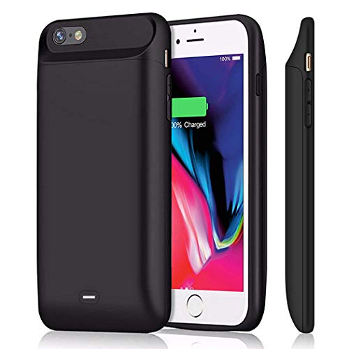 iPhone 6 6s Battery Case 5000mAh, JERSS Portable Rechargeable Battery Pack Charging Case for Apple iPhone 6 6s(4.7 inch) Extended Battery Charger Case Protective Power Bank Backup Cover - Black