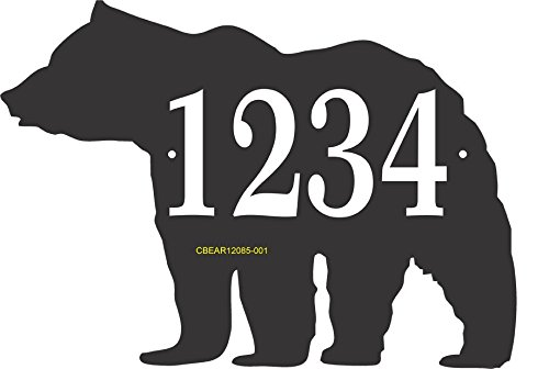 Address Sign in Shape of Bear - Custom Address Plaque Displays Up To 4 House Numbers - Choose Color: Black, White, Blue, Brushed Gold, Brushed Stainless, Yellow, Red, and Green CBEAR12085 Comfort House