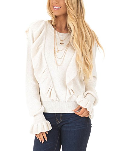 Annystore Womens Crew Neck Bell Ruffle Long Sleeve Knit Sweater Pullover Crop Tops Blouse White - Blouse White Knit Soft