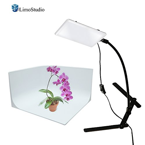 LimoStudio LED Light Panel with Gooseneck Extension Bar Adapter and Mini Table Top Lighting Stand, Photo Studio, AGG2208 by LimoStudio