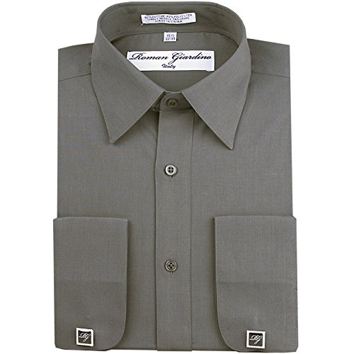 RG Men's Dress Shirt Charcoal Long Convertible Sleeve Collar Free Cufflink 18.5- 36/37