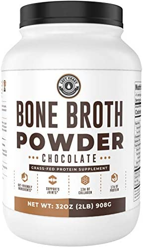 Bone Broth Protein Powder, Chocolate, Grass Fed 2lbs 42 servings 17g protein, 13g Collagen. Low Carb 1 net Carb Dairy Free, Keto Friendly Bone Broth Protein Supplement with Collagen Types I III