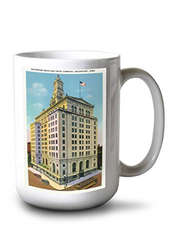 Davenport, Iowa - Exterior View of The Davenport Bank and Trust Company Building (15oz White Ceramic Mug) from Lantern Press