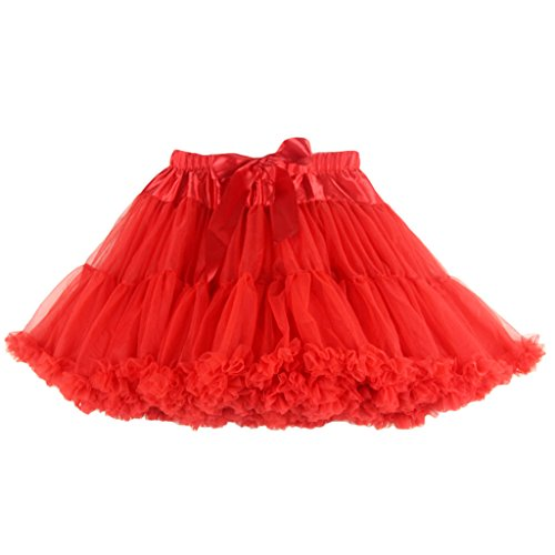 Buenos Ninos Women's Chiffon Petticoat 2 Layered Ballet Dance Pettiskirt Mini skirt Red
