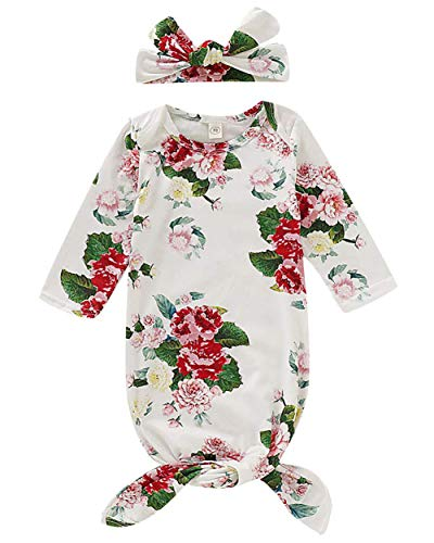 Gorgeous Printed Gown - Newborn Baby Floral Sleeping Gown Swaddle Sack Coming Home Sleepwear Romper Sleeping Bags Outfit (White#2, 0-6 Months)