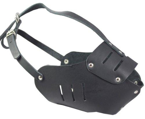 Real Leather Cage Basket Secure Dog Muzzle #131 Black – Great Dane, Saint Bernard, Mastiff(Circumference 15″, Snout Length 4″), My Pet Supplies