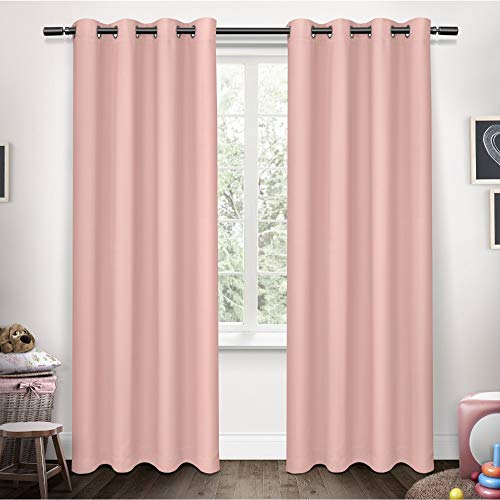 (Exclusive Home Sateen Twill Woven Blackout Grommet Top Curtain Panel Pair, Bubble Gum, 52x84)