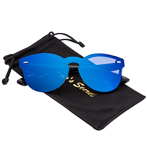 JOJO'S SECRET One Piece Rimless Sunglasses,Mirrored Reflective Lens Eyewear JS016 (Black/Navy Blue, - Navy Blue Sunglasses