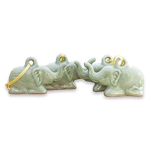 NOVICA Handmade Celadon Ceramic Christmas Ornaments, 'Lucky Green Holiday Elephants' (set of 4), Made in (Celadon Green)