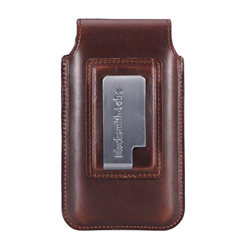 Limited Edition: Blacksmith-Labs Barrett Mezzano 2017 Premium Leather Swivel Belt Clip Holster for Apple iPhone 6/6s/7 for use with Apple Leather Case - Horween Chromexcel Havana Brown/Gunmetal Clip by Blacksmith-Labs (Image #1)